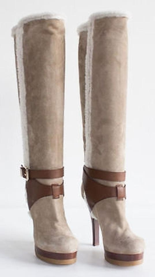 Fendi Tan Suede Shearling Knee Orig High Platform Boots 38.5 Orig Knee 7276b9
