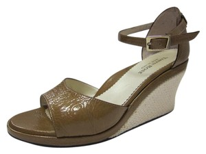 Taryn Rose Leather Woven Brown Wedges