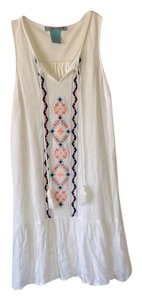Flying Tomato short dress Cream with multicolored design down the middle on Tradesy