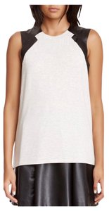 La Senza Faux Leather Perforated Made In Usa T Shirt white