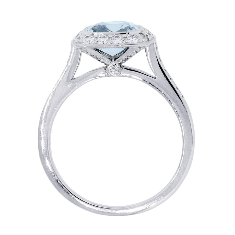 b7eb39b2f Well-known Tiffany & Co. White Blue Legacy Platinum Aquamarine and Diamond  ZA92