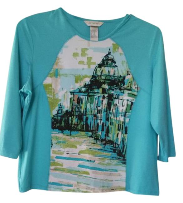 Preload https://img-static.tradesy.com/item/19044166/turquoise-and-pattern-on-front-pullover-blouse-size-16-xl-plus-0x-0-1-650-650.jpg