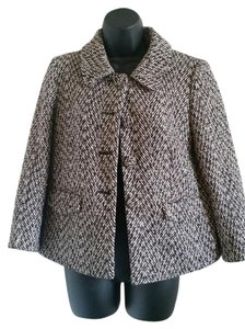 Ann Taylor LOFT Wool Career Tweed Swing BLACK AND WHITE Jacket