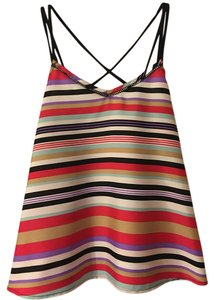 Jessica Simpson Strappy Cut-out Striped Top Multi-Color