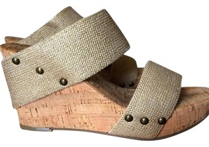 Lucky Brand Opaque Gold & Cork Wedges