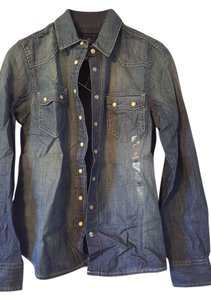 Tommy Hilfiger Longsleeve Western Denim Button Down Shirt Blue Denim