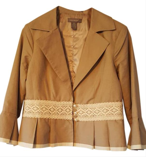 Kenar Cotton Beige with white trim Blazer Image 0