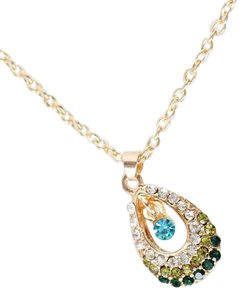 Other BRAND NEW Gold Tone Alloy Green Blue Clear Tear Drop Necklace
