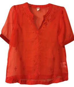 Old Navy Embroidered Sheer Boho Top Coral