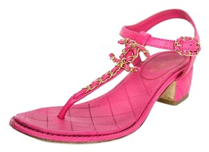 Chanel Quilted T-strap Gold Hardware Pink Sandals