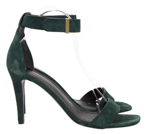 Céline Iconic Forest Suede Leather Ankle Strap High Heel Sandal Green Pumps