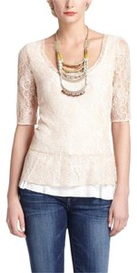 Anthropologie Lace Peplum Pink Deletta Ruffle Top