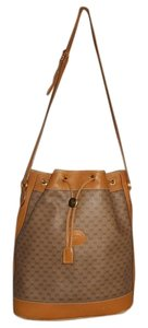 Gucci Vintage Leather Canvas Tote in Tan