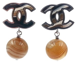Chanel Authentic Chanel Rare Silver CC Petrified Wood Bead Piercing Earrings