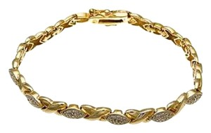 Other Two Tone Brass Diamond Accent 18K Gold Plated Bracelet