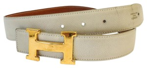 Hermès #8361 32Mm Gold Polished H Size 65 Reversible Belt White on Gold