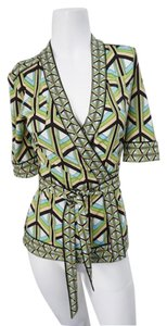 Diane von Furstenberg Dvf Full Length Wrap Top Green, Blue & Black