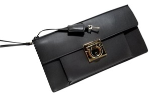 Salvatore Ferragamo Leather Gancio Hardware Push-lock Closure Turn Lock Closure Key Included Fumee Clutch