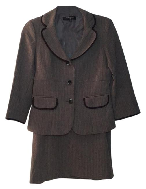Item - Charcoal Brown Gray Three-button Jacket + Skirt Suit Size 4 (S)