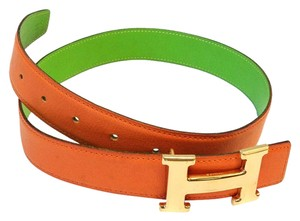 Herms Herms #8363 32 Mm Gold Polish H Size 65 Reversible Belt Orange on Green