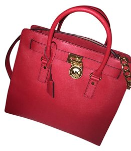 Michael Kors Gold Tote in Red/Gold Hardware
