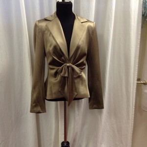 Kay Unger Satin Silk Bow Jacket Bronze Blazer