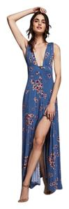 Blue Floral Maxi Dress by Free People Cotton
