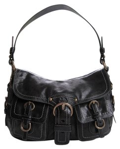 Coach Burnished Brass Trim Shoulder Bag
