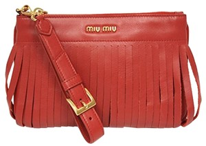 Miu Miu Leather Wristlet in Red