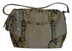 B. Makowsky Snakeskin Straw Shoulder Bag