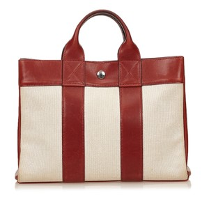 Hermès Canvas Ivory Leather Tote