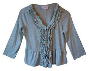 Anthropologie Peplum Ruffle Blue Cardigan