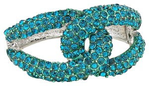 Blue Zircon Twisted Rhinestone Crystal Cuff Bracelet Bangle