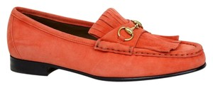 Gucci Suede Horsebit Loafers & Moccasins 351305 Orange Flats