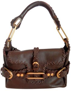Jimmy Choo Suede Lining Dust Satchel in Brown, Gold Hardware