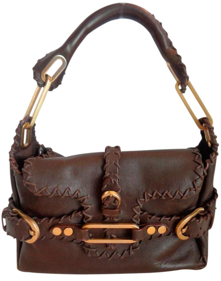 Choo Brown Satchel Hardware Gold Whipstitched Purse Leather Tulita Jimmy Rare TqzUwgTd