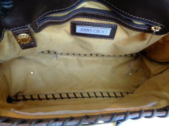 Jimmy Choo Suede Lining Dust Satchel in Brown, Gold Hardware Image 10
