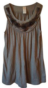 Anthropologie Beaded C Keer Sleeveless Knit Top taupe
