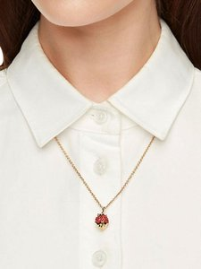 Kate Spade New kate spade outside the box strawberry mini pendant necklace Gold