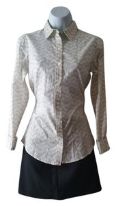 C. Wonder Print Long Sleeve Button Down Shirt Beige/Tan, and White