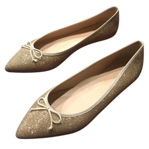 J.Crew Free Shipping Leather Gold Flats
