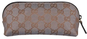 Gucci Gucci 272367 Small Shimmer Grey Gold Canvas GG Dome Cosmetic Bag