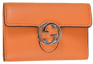 Gucci NEW Gucci Women's 369673 Orange Leather GG Icon Moon 6 Ring Key Case