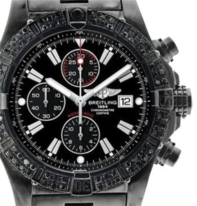 Breitling Breitling Super Avenger A13370 3ct Black Genuine Diamonds Bezel Watch