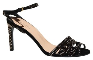 Gucci Open Toe Style Suede 340812 Rose Gold Studs Black Sandals