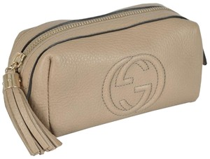 Gucci Gucci 308634 Beige Leather Soho Tassel GG Small Cosmetic Makeup Bag