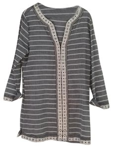 Joie Tunic Embroidered Stripe Longsleeve Top Grey/Blue