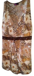 Agenda Floral Sleeveless Top Brown floral