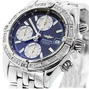 Breitling Breitling Chronomat Evolution Stainless Steel Watch Diamond Bezel blue