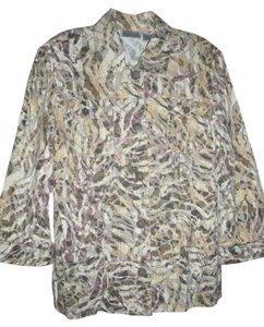 Chico's Spring 3/4 Sleeves Multi-Colored Jacket
